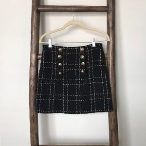 Black and gold tweed skirt